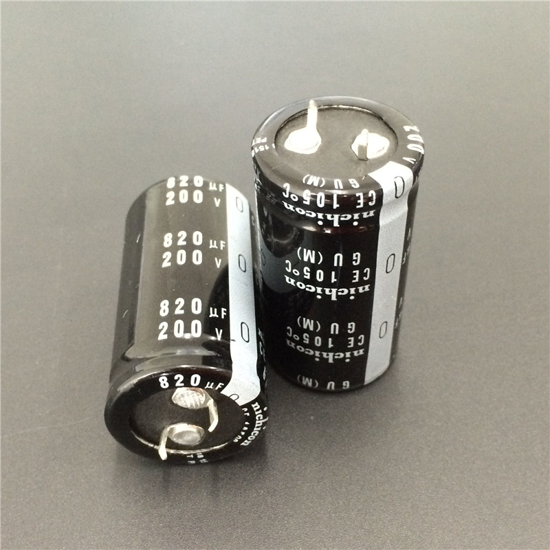 2pcs 820uF 200V NICHICON GU Series 25x45mm High Quality 200V820uF Snap-in  PSU Aluminum Electrolytic Capacitor
