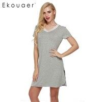 Ekouaer باس المرأة عارضة الخامس الرقبة فستان قصير ثوب النوم صالة التحول لينة القطن السيدات النوم