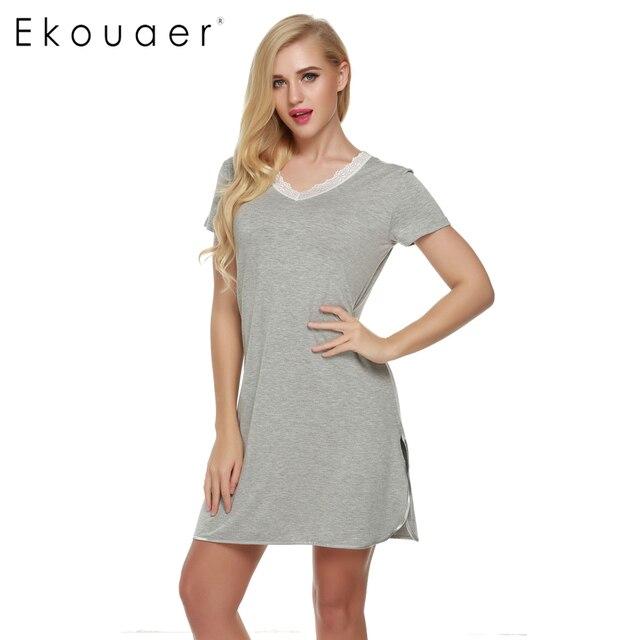 Ekouaer Women Casual Nightdress V-Neck Sleep Lounge Shift Dress Short Nightgown Soft Cotton Ladies Sleepwear
