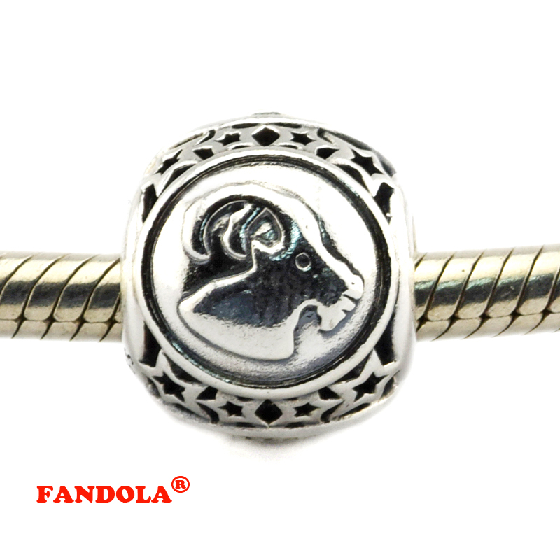 DIY Fits Pandora Bracelets Capricorn Star Sign Beads 925 Sterling Silver Jewelry Charms for Women Free Shipping