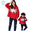 2017New Spring Family Matching Outfits Long-sleeves T-shirt +Star Jeans Trousers Family Look Mother And Daughter Clothes