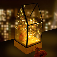 Fiery Trees and Silver Flowers Glass Cover Wood Base LED Atmosphere Lamp Bedroom Bar Desk Bedside perfect night light