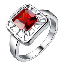 red zircon shiny square Silver plated Ring Fashion Jewerly Ring Women&Men , /UIWLFXEY GTXWXTRN