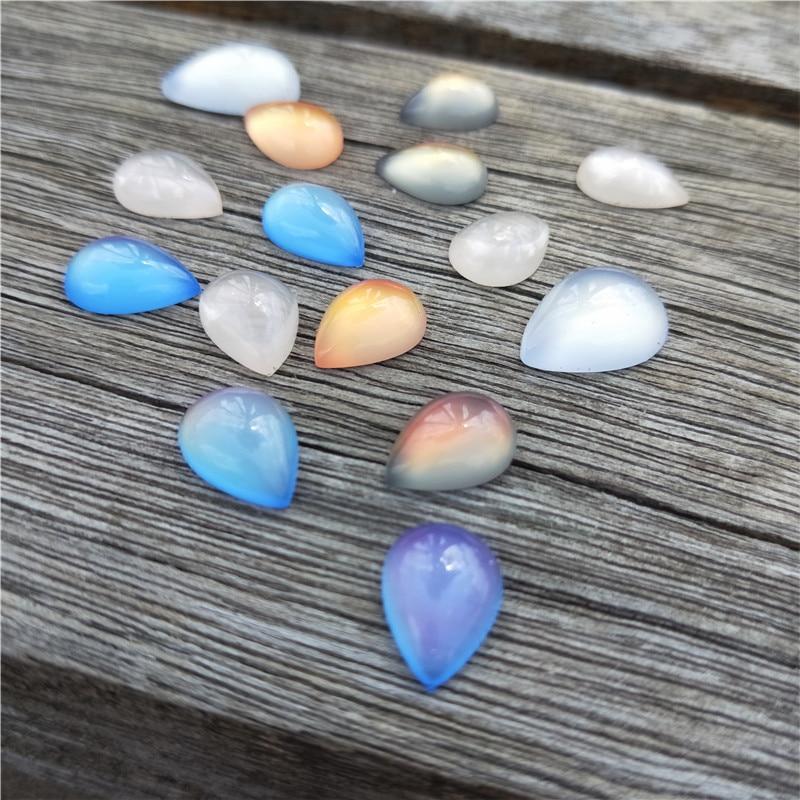 20pcs/lot Colorful Water Drop Resin Flatback Faux Cat Eye Cabochon Bead Fit 10X14 13X18mm DIY Handmade Pendant Jewelry Findings