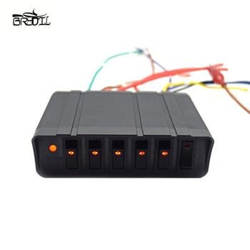 6 Gang 12V 80A Rocker Switch Panel Box Di Emergenza Strobe Light Toggle Pannello di Controllo