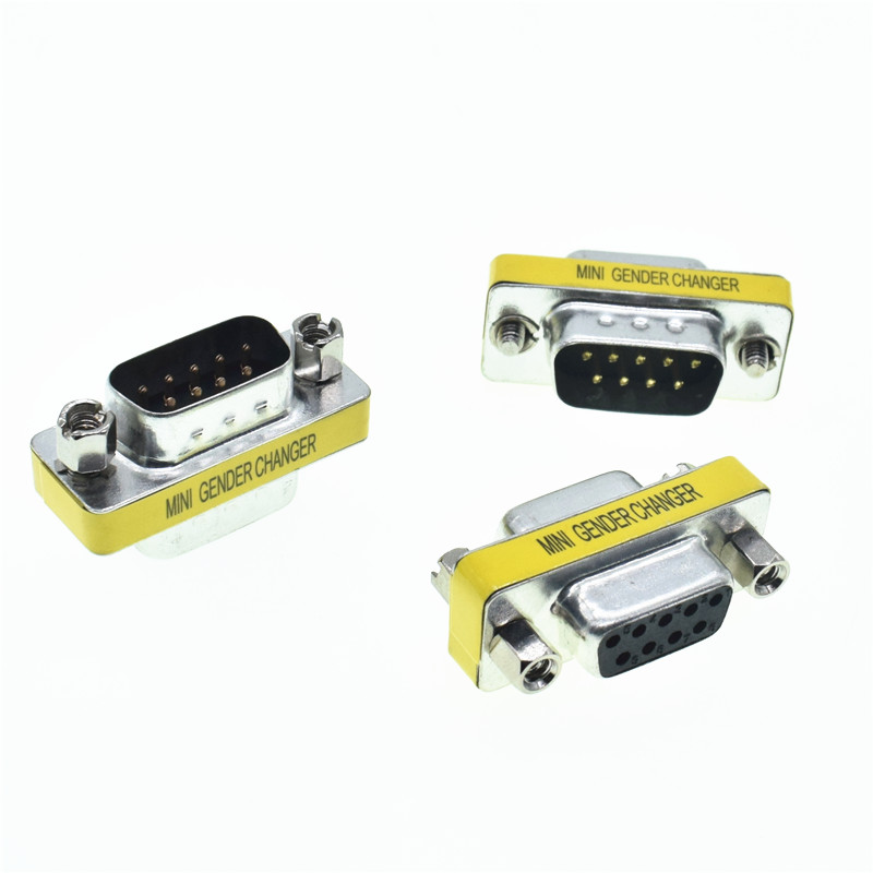 DB9 9Pin  D-Sub Connectors Mini Gender Changer Adapter RS232 Serial Connector Male To Male Female To Female Female To Male