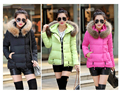 2016 Women Cotton Wadded Warm Jackets Coat Winter Slim Faux Fur Collar Hooded Thick Parka Fashion Female Outerwear w-0515