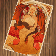 Daenerys Targaryen-Juego de tronos Nouveau arte Retro Vintage cartel de papel Kraft lienzo cuadro adhesivo para pared decoración del hogar regalo