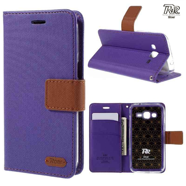 For Galaxy J 2 J200 Case Capa ROAR KOREA Twill Wallet Leather Cover Protector Coque for Samsung Galaxy J2 2015 SM-J200 Cases