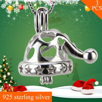 LGSY FREE SHIPPING 925 Sterling Silver Santa Hat Cage Pendants Necklace Pearls Charms 3pcs