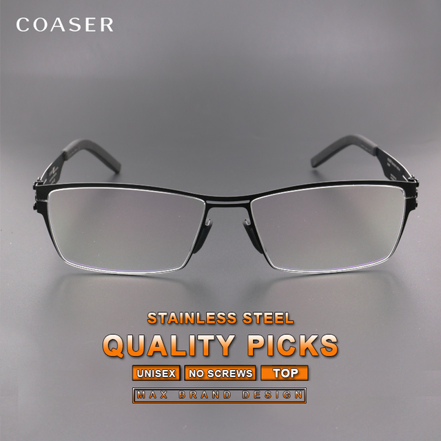 f812d802c42 Germany Quality Stainless Steel Glasses Spectacle Men Square Myopia prescription  optical eyeglasses frame No Screws Fadeless