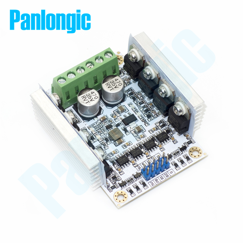 Panlongic Brushed Motor Speed Control PWM Module Controller DC 20A/500W Dual Controller Reversal Switch Brake SCM Control digital dc motor pwm speed control switch governor 12 24v 5a high efficiency