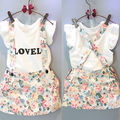 NEW Arrive Kids Girls white Tops T-shirt+Floral Braces Skirt Overalls 2pcs Outfits Set