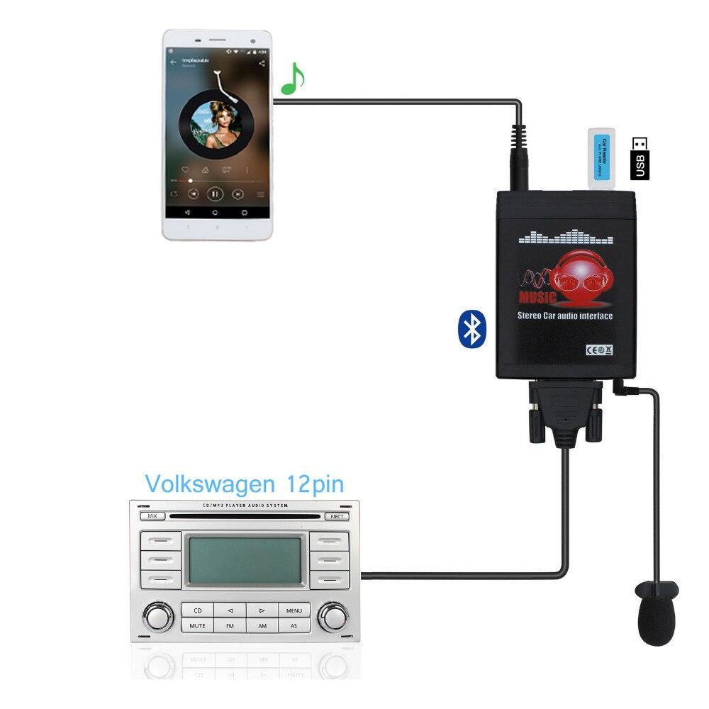 Moonet Bluetooth カー MP3 USB/AUX 3.5 ミリメートルアダプタステレオハンズフリー自動 CD チェンジャー 12pin vw アウディシュコダオクタシート QX991  グループ上の 自動車 &バイク からの 車用 MP3 プレーヤー の中 1