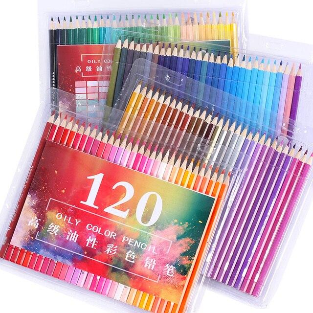 Профессиональный деревянный 120 цветные карандаши костюм для мальчиков, футболка + штаны Ляпис de Cor школа художника картина маслом Цвет карандаш для рисования эскиз искусство поставки