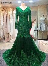 цены на Long Sleeves Mermaid Evening Dresses 2019 V Neck Lace-up Back Appliques Beaded Formal Party Prom Dresses Robe De Soirée Custom  в интернет-магазинах