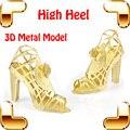 Novo Dom Idéia de Salto Alto Modelo 3D Modelo De Metal Mini sapatos de Ouro Modelo Lady Favor Decoração de Liga Minúsculo Modelo DIY brinquedos