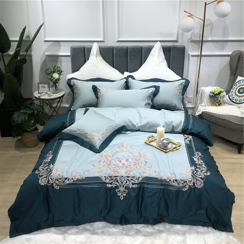 Blue Green Purple Pink Luxury Royal Embroidery 100S Egyptian Cotton Court Bedding Set Duvet Cover Bed sheet Bed Linen PillowcaseBlue Green Purple Pink Luxury Royal Embroidery 100S Egyptian Cotton Court Bedding Set Duvet Cover Bed sheet Bed Linen Pillowcase