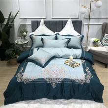Blue Green Purple Pink Luxury Royal Embroidery 100S Egyptian Cotton Court Bedding Set Duvet Cover Bed sheet Linen Pillowcase