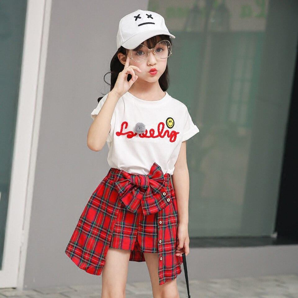 Children Clothing Sets 2018 Girls Sports Suit Summer Letter T-shirt+ Grid Shorts Kids Girls Teenager College Style 2pcs/set