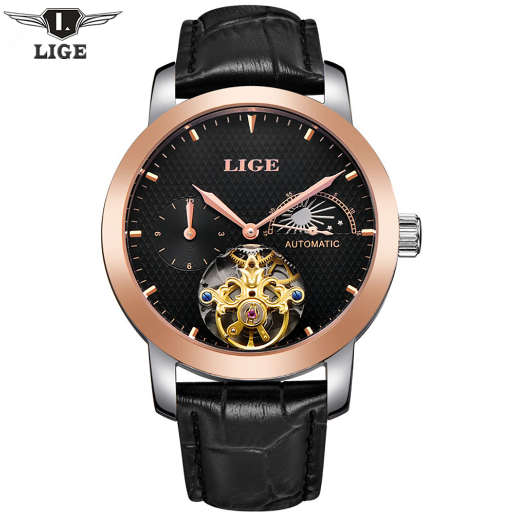 ФОТО LIGE Men's Luxury Casual Clock Dive Automatic Mechanical Watch Men Genuine Leather Business Wristwatches Male Relogio Masculino