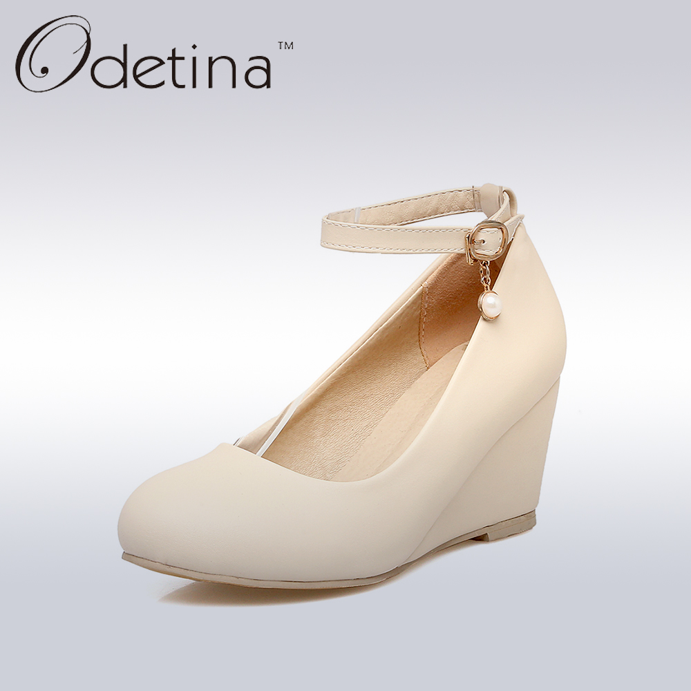 Odetina Ladies Mary Jane Wedge Pumps Platform High Heels Wedding Shoes for Bride Ankle Strap Office Women Dress Shoes Plus Size shoes woman pumps wedding heels ankle strap shoes pumps women heels ladies dress shoes sexy high heels platform shoes x193