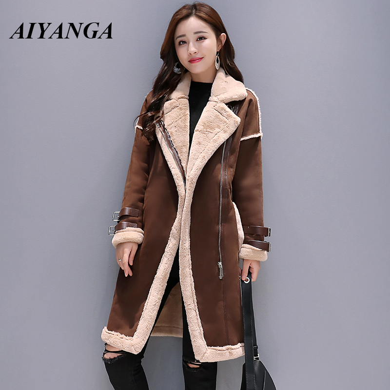 Faux   Leather     Suede   Coats Women 2018 Zipper Thick   Suede   Jackets Female Autumn Winter Lambs Wool Long Motorcycle Coats