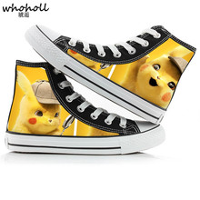 WHOHOLL Pokemon Pikachu Anime Cartoon Hand Painted Canvas Shoes High Top Casual Sneaker Minion Shoes Adults Minions Sneakers