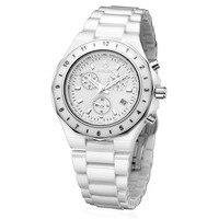 Binlun японский кварцевый Белый Розовый Керамика воды царапинам Для женщин часы световой многофункциональный наручные часы для дам