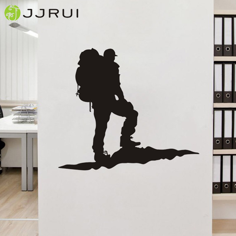 jjrui wall stickers vinyl decal rock climber alpinist mountains extreme sport art decor home decoration for bedrooms