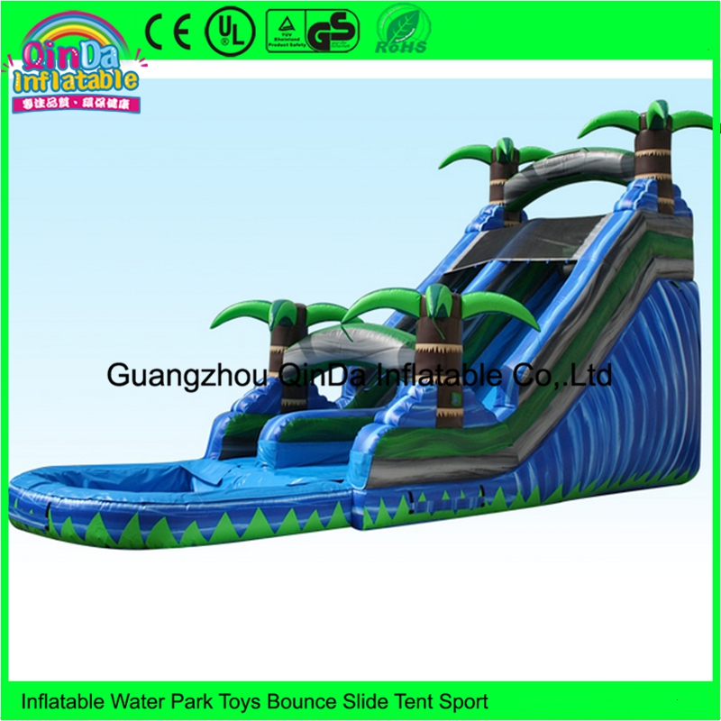 Commercial outdoor cheap inflatable blow up tropical bouncy water slide with pool rental free shipping hot commercial summer water game inflatable water slide with pool for kids or adult