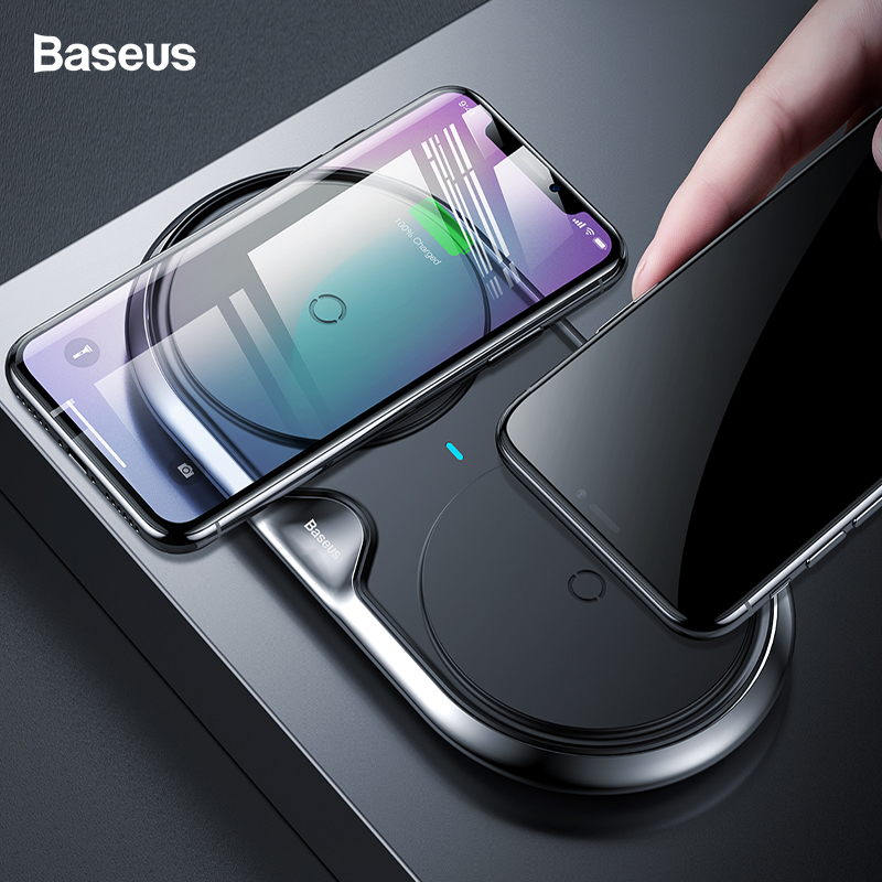 Baseus 10 Вт двойной набор QI Беспроводной Зарядное устройство для iPhone XS Max Xr X samsung S9 примечание 9 Быстрый Беспроводной зарядного устройства док-с...