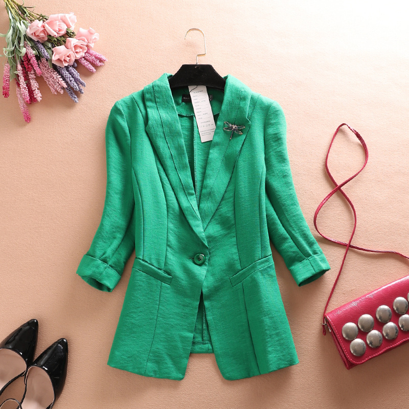 New Arrival 2018 Spring Autumn Women Blazer Thin Casual Comfortable Suit Female linen Jacket Outwear