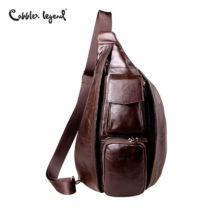 Cobbler Legend Men's Vintage Genuine Leather Shoulder Bag Retro Men Messenger Crossbody Bag Single Strap Pack Chest Bag Casual lapoe 2018 new vintage genuine leather crossbody bags for men messenger chest bag pack casual bag single shoulder strap pack