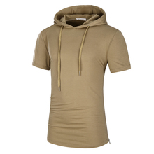 2017 Men's Hooded T-shirts Men's Streetwear Short Sleeve Sweatshirts Men Tops Tees  Male Long Camouflage T Shirt Plus 3XL Homme