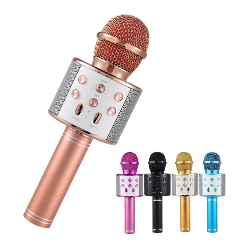 Professional Bluetooth Wireless Microphone Karaoke Microphone Speaker Handheld Music Player MIC Singing Recorder KTV Microphone ur6s professional uhf karaoke wireless microphone system 2 channels cordless handheld mic mike for stage speech ktv 80m distance