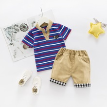 Комплекты летней одежды для маленьких мальчиков модные хлопковые топы в полоску+ короткие штаны для новорожденных спортивный костюм из 2 предметов для маленьких мальчиков, одежда для младенцев