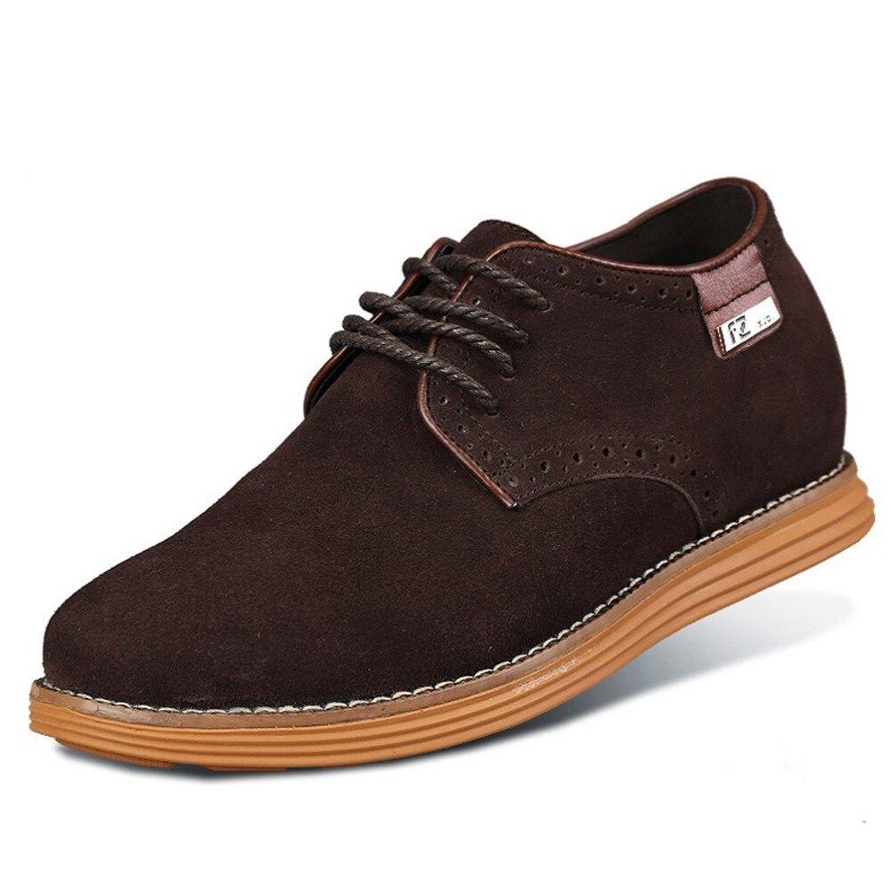 Zapatillas de Hombres de Cuero de Ante de Cuero Genuino Para Hombres Aumento de La Altura de Zapatos Para Hombre (42, Café Oscuro)