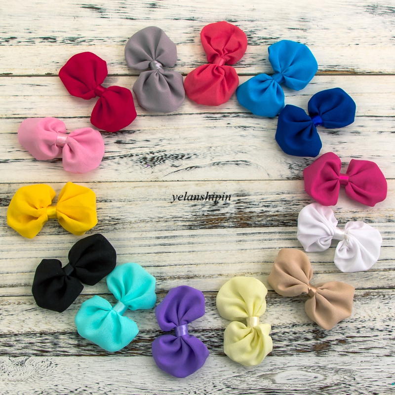 120pcs/lot 20 Colors Hair Clips Satin Bow Accessories For Girls Dress Garment Artificial Chiffon Boutique Bowknot Hair Bows DIY