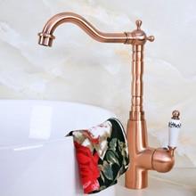 цена на Antique Red Copper Brass Single Ceramic Handle Bathroom Kitchen Basin Sink Faucet Mixer Tap Swivel Spout Deck Mounted mnf635