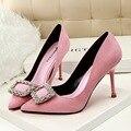 Mulheres Sapatos De Salto Alto Sapatos de Fivela de Strass Alta-Sapatos de salto alto Rebanho Fina Moda Elegante Apontou Sapatos de Camurça Rosa G1011