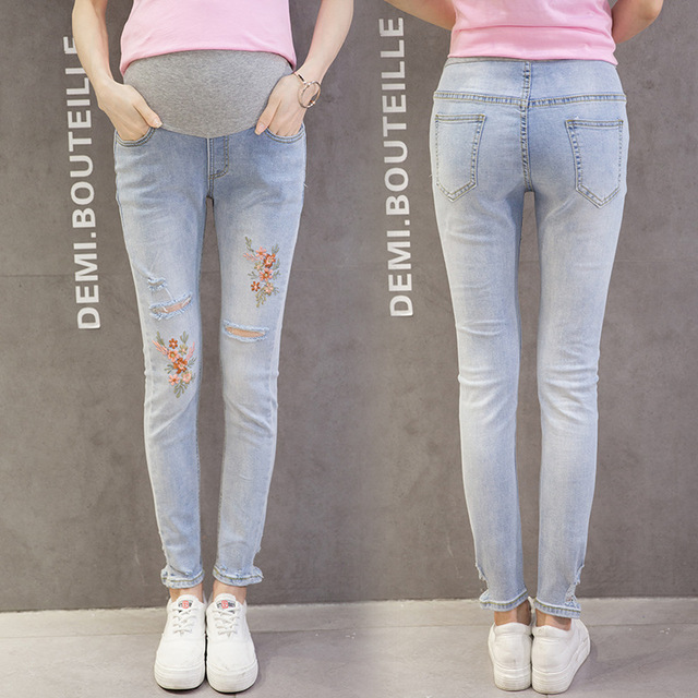 bf5c1625c31d2 Maternity Pants Jeans Fashions Stretch Holes Embroidered Pants Pregnant  Women Pants embroidery pregnancy belly pants