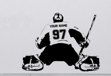 s009 Hockey Goalie CUSTOM Decal Wall art sticker Player jersey NAME and NUMBERS Kids Free Shipping
