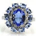 6.5 # Классической Создал Богатый Синий Фиолетовый Танзанит, белый CZ SheCrown Серебряное Кольцо 18 х 17 мм