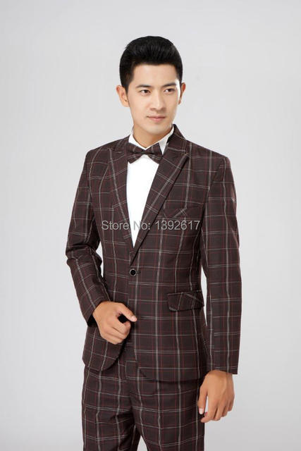 2615725220ae mens brown check tuxedo suit wedding/stage performance suit-in Suits ...