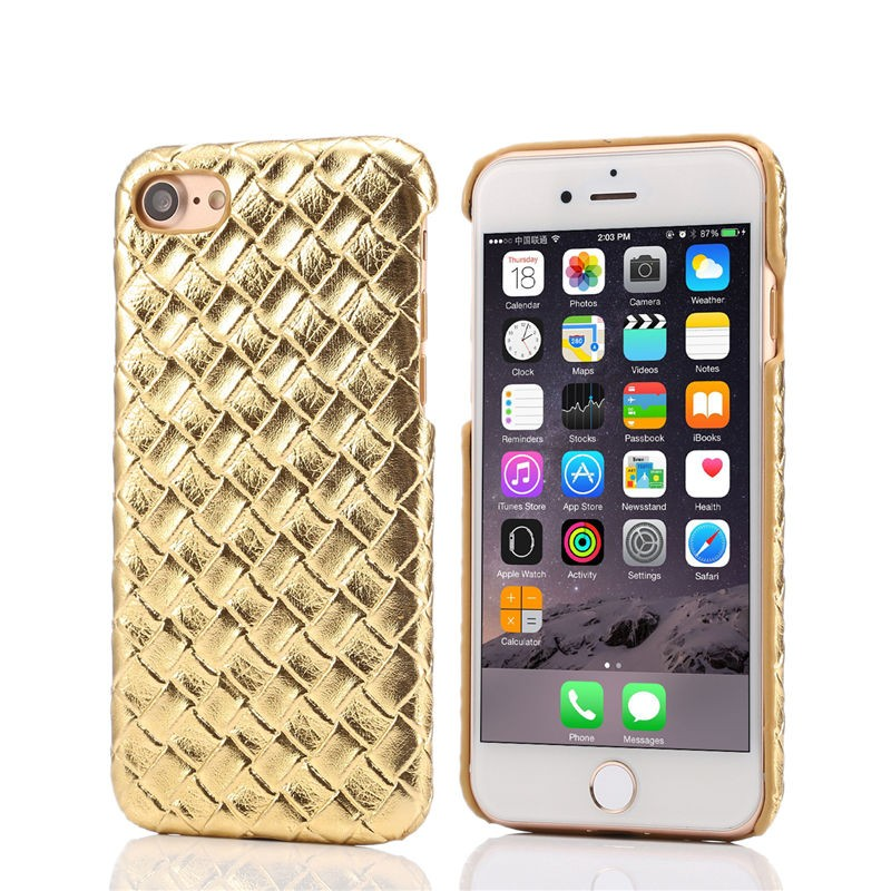 Luxury PU Leather Weave Skin Braided Texture Case For iphone 7 6 6s Plus 5 5S Hard Back Cover Fashion Phone Cases Shell Fundas