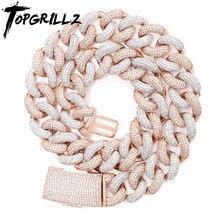 TOPGRILLZ 14 мм 20 мм новейшая коробка застежка микро проложить ледяной CZ кубинское звено ожерелья цепи роскошные ювелирные изделия шикарные модные хип хоп для мужчин