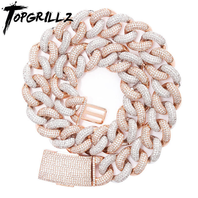TOPGRILLZ 14mm 20mm Newest Box Clasp Micro Pave Iced CZ Cuban Link Necklaces Chains Luxury Bling  Jewelry Fashion Hiphop For Men