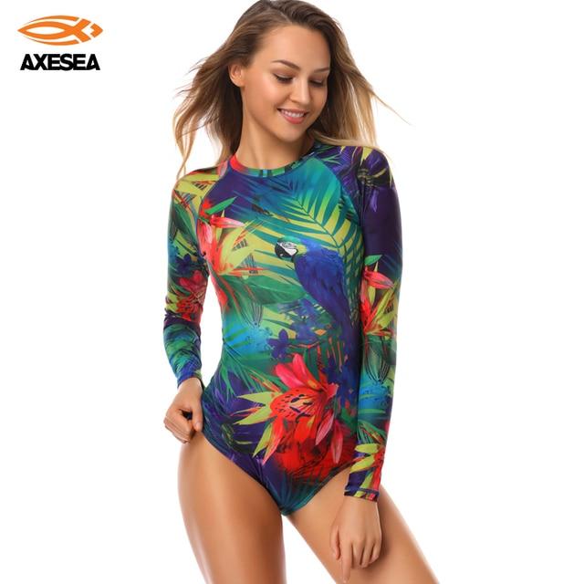 Axesea Baru Baju Renang Wanita K Berlaku Lengan Panjang Satu Potong Baju Renang UPF50 + Cetak Bunga Flamingo Ritsleting Belakang Surf Ruam Penjaga
