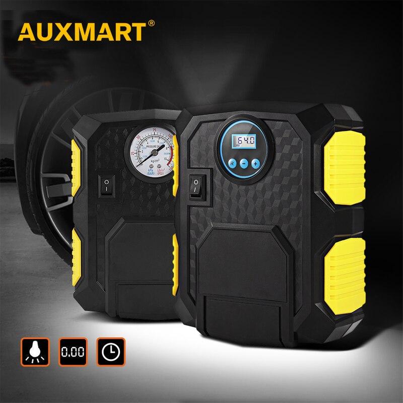 Inflatable Pump Auxmart Portable Electric Car Tire Inflator Pump 12v Auto Air Compressor Led Light Digital Inflatable Pump 19/22 Cylinder 120w Durable Service